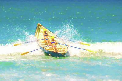 Row Boat Digital Art - Splash Lifeboat Race Watercolor by Scott Campbell