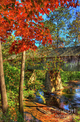 Photograph - Splash Of Color Concord Covered Bridge Art by Reid Callaway