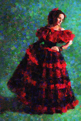Spanish Dancer Painting - Splash Of Spain In Red by Georgiana Romanovna