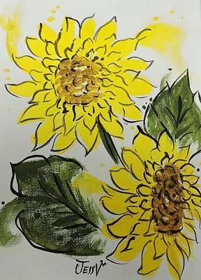 Girasol Painting - Splash Of Sunflower by Jessica  Venzor