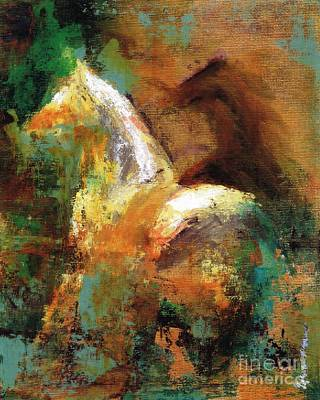 Abstract Equine Art Painting - Splash Of White by Frances Marino