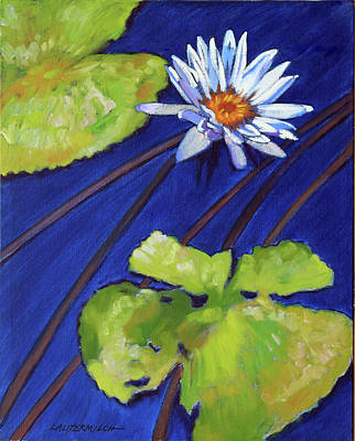 Painting - Splash Of White On Lily Pond by John Lautermilch