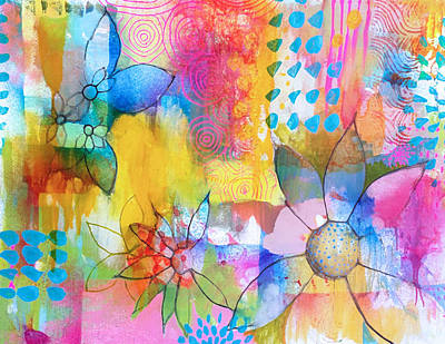 Mixed Media Florals Painting - Splash by Robin Mead
