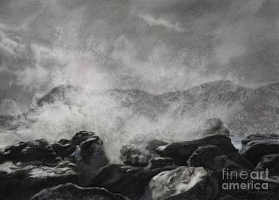 Drawing - Splash - Seaside Landscape Drawing by Kelly Borsheim