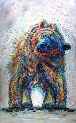 Grizzly Painting - Splash by Teshia Art