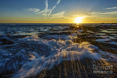 Photograph - Splash Wave On Sunset Cadiz Sapin by Pablo Avanzini