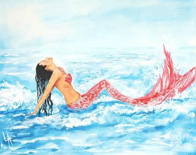 Painting - Splashing Mermaid by Leslie Allen
