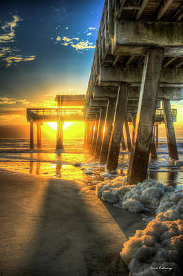 Photograph - Splashing The Pier Tybee Pier Tybee Island Georgia Sunrise Art by Reid Callaway