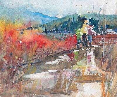 Skagit Painting - Splashing Through The Blueberry Blush by Sukey Watson