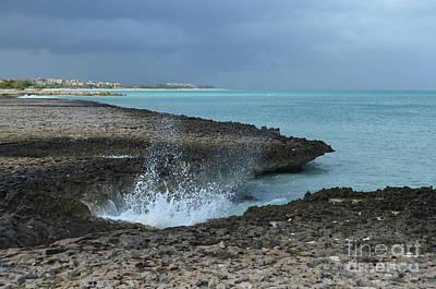 Photograph - Splashing Waves Under Dark Skies In Coastal Aruba by DejaVu Designs