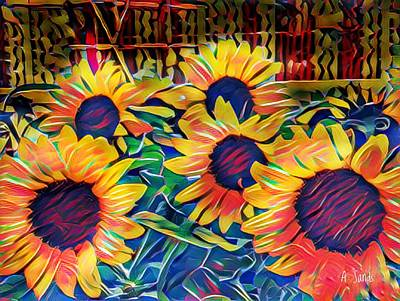 Painting - Splashy Sunflowers by Anne Sands