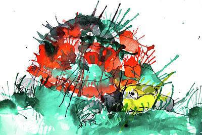 Drawing - Splashy Turtle by ZileArt