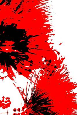 Splatter Black White And Red Series Art Print by Betty Northcutt