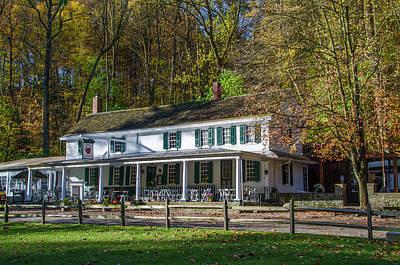 Wissahickon Creek Photograph - Splendid Autumn At Valley Green Inn by Bill Cannon
