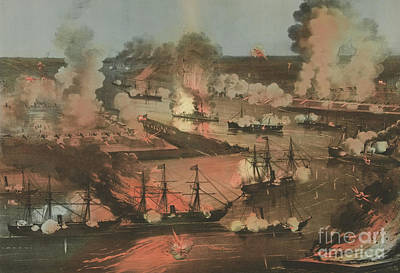 Triumphing Painting - Splendid Naval Triumph Of The Mississippi by American School