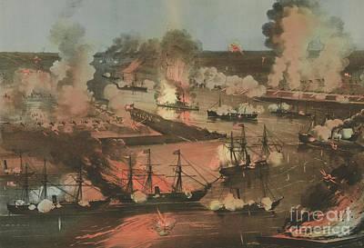 Splendid Naval Triumph Of The Mississippi Art Print by American School