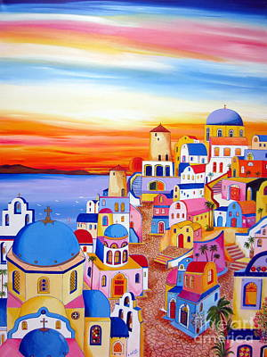 Splendid Santorini Sunset My Way Art Print