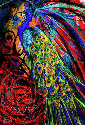 Painting - Splendor Of Love And Glory - Peacock Colorful Artwork by Lourry Legarde