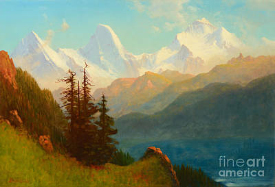 Wyoming Painting - Splendor Of The Grand Tetons - Wyoming Territory by Celestial Images