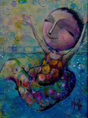 Floating Girl Painting - Splish Splash by Eleatta Diver
