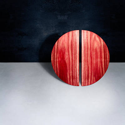 Floating Box Photograph - Split Circle Red by YoPedro