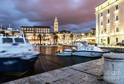 Photograph - Split Harbor Night View In Croatia by Didier Marti