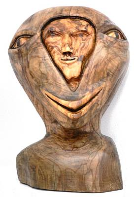 Split Personality. Olive Wood Sculpture Art Print by Eric Kempson