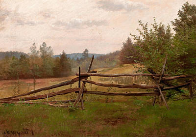 Split Rail Fence Art Print by Alexander Helwig Wyant
