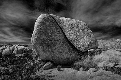 Art Print featuring the photograph Split Rock In Black And White At Joshua Tree National Park by Randall Nyhof