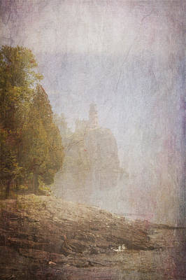 Digital Art - Split Rock In The Fog by Heidi Hermes