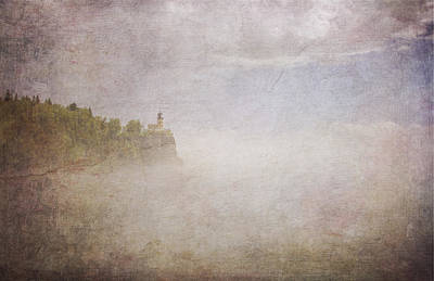 Digital Art - Split Rock In The Fog V2 by Heidi Hermes