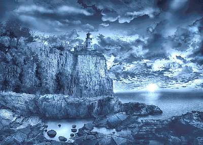 Split Rock Lighthouse Blue Art Print