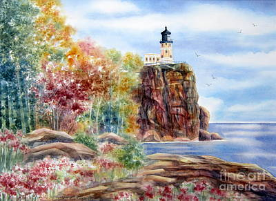 Split Rock Lighthouse Art Print by Deborah Ronglien