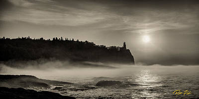 Photograph - Split Rock Lighthouse Emerging Fog by Rikk Flohr