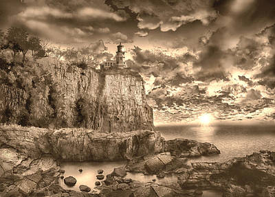 Split Rock Lighthouse Sepia Art Print