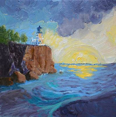 Split Rock Lighthouse Painting - Split Rock Lighthouse Sunrise by Kimberly Benedict