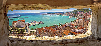 Photograph - Split Waterfront Aerial Panoramic View Through Stone Window by Brch Photography