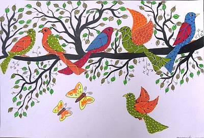 Gond Tribal Art Painting - Spm 04 by Shiv Prasad Malviya