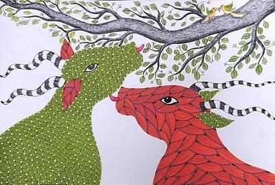Gond Tribal Art Painting - Spm 05 by Shiv Prasad Malviya