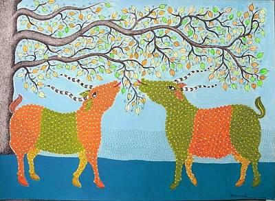 Gond Tribal Art Painting - Spm 07 by Shiv Prasad Malviya