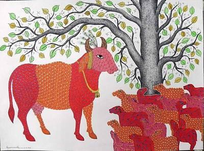 Gond Tribal Art Painting - Spm 09 by Shiv Prasad Malviya