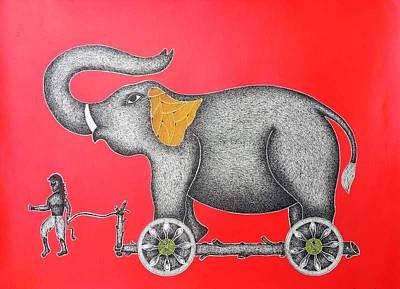 Gond Tribal Art Painting - Spm 13 by Shiv Prasad Malviya