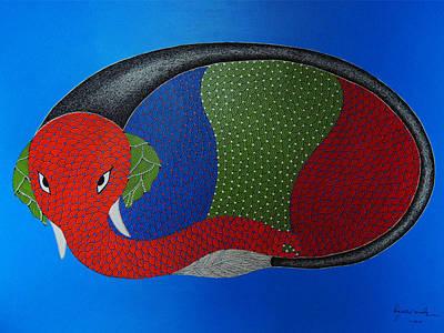Gond Art Painting - Spm 46 by Shiv Prasad Malviya