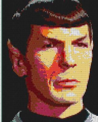 Spock Lego Mosaic Art Print