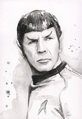 Spock Portrait Print by Olga Shvartsur