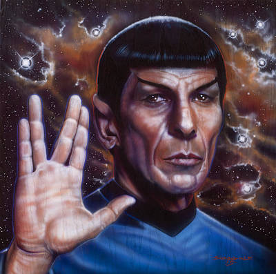Airbrush Painting - Spock by Timothy Scoggins
