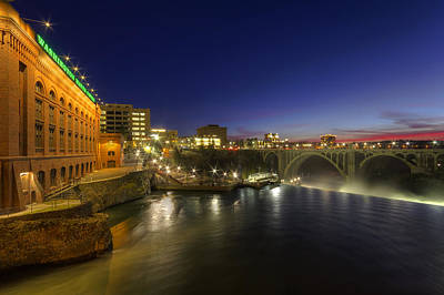 Pacific Northwest Photograph - Spokane Falls At Night by Mark Kiver