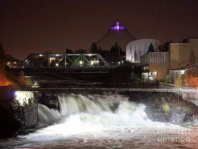 Photograph - Spokane Falls Night Scene by Carol Groenen