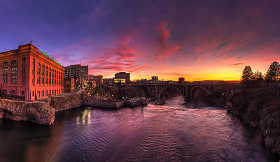 Photograph - Spokane Falls Sunset Panorama by Mark Kiver