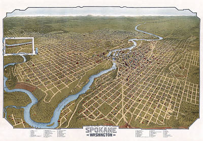 Spokane Washington Pictorial Map  1905 Art Print